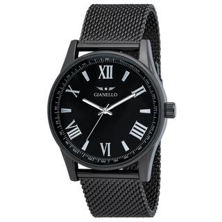 Gianello Mesh Gunmetal Stainless Steel Watch|https://ak1.ostkcdn.com/images/products/13473734/P20160515.jpg?impolicy=medium