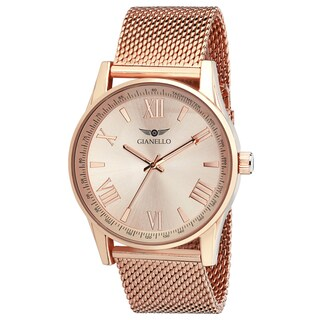 Gianello Rose Gold Plated Stainless Steel Women's Mesh Watch