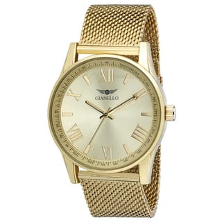 Gianello Yellow Gold Stainless Steel Women's Mesh Watch|https://ak1.ostkcdn.com/images/products/13473736/P20160514.jpg?impolicy=medium
