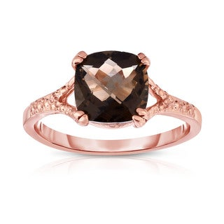 Noray Designs 14k Rose Gold Checkerboard Smokey Topaz and Diamond Accent Ring