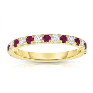 Noray Designs 14k Yellow Gold Ruby and 1/3ct TDW Diamond Ring (G-H, I1-I2) - Red
