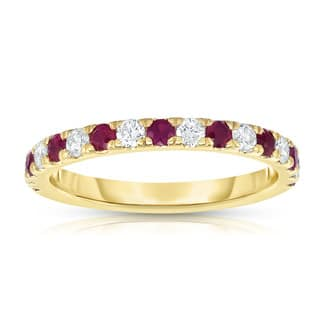 noray designs 14k yellow gold ruby and 13ct tdw diamond ring g h - Ruby Wedding Ring