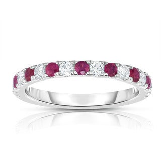 Noray Designs 14k White Gold Ruby and 1/3ct TDW Diamond Ring (G-H, I1-I2) - Red