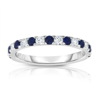 Noray Designs 14k White Gold Blue Sapphire and 1/3ct TDW Diamond Ring (G-H, I1-I2)