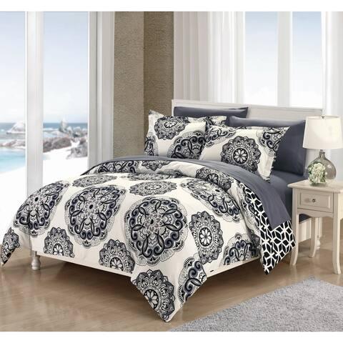 Chic Home 7-Piece Aragona Bed-In-A-Bag Black Duvet Set