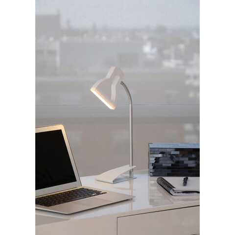 LumiSource White and Silvertone 2D LED Lamp