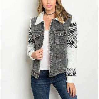 JED Women's Tribal Print Denim Long Sleeve Sweater Jacket