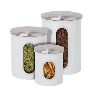 Honey-Can-Do Steel Canister Set - 3pc white