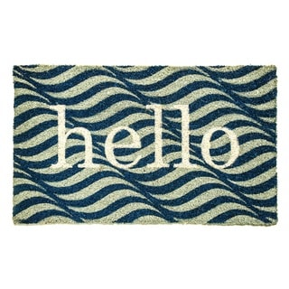 Dynamic Rugs 'Hello' Aspen Blue/Ivory Natural Coir Machine Woven Doormat