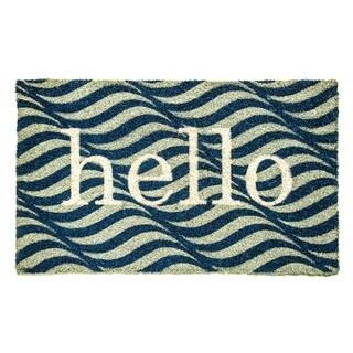 Dynamic Rugs 'Hello' Aspen Blue/Ivory Natural Coir Machine Woven Doormat
