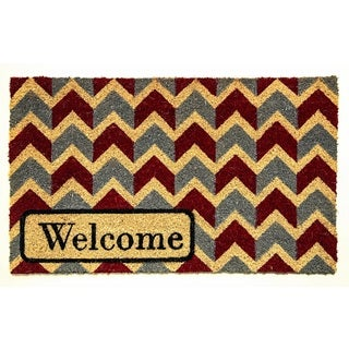 Dynamic Rugs Blue/Red/Ivory Coir Machine Woven Aspen Doormat