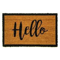 Dynamic Rugs Ivory/Black Coir Machine-woven Vale Doormat