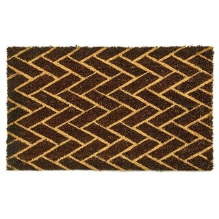 Dynamic Rugs Machine-woven Vale Black, Ivory 100-percent Natural Coir Doormat