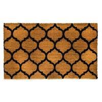 Dynamic Rugs Ivory/Black Coir Machine-woven Vale Doormat