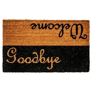 Machine Woven Vale (Black/Ivory) 100-percent Natural Coir Doormat