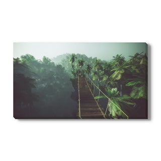 Rope bridge in misty jungle with palms, Canvas Gallery Wrap