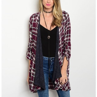 JED Women's Rayon 3/4 Tab Sleeve Plaid Open-front Long Cardigan
