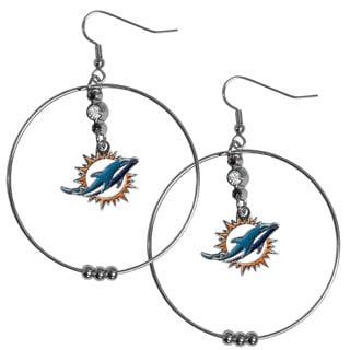 NFL Miami Dolphins 2-inch Hoop Earrings