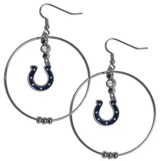 NFL Indianapolis Colts Chrome Rhinestone 2-inch Hoop Earrings