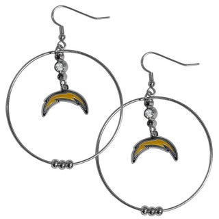 NFL San Diego Chargers Silvertone/Yellow Chome-finished Metal 2-inch Hoop Earrings