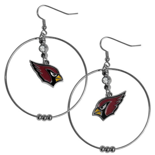 NFL Arizona Cardinals Chrome and Enamel 2-inch Hoop Earrings