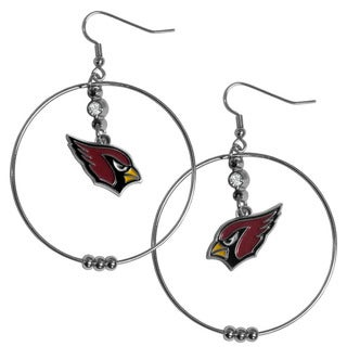 NFL Arizona Cardinals Chrome and Enamel 2-inch Hoop Earrings
