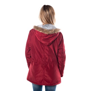 Special One Women's Acrylic and Polyester Zip-up Parka Jacket with Fur-lined Hood