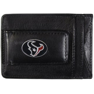 NFL Houston Texans Black Leather Cash and Card Holder