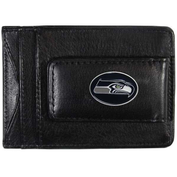 NFL Seattle Seahawks Black Leather Cash and Cardholder