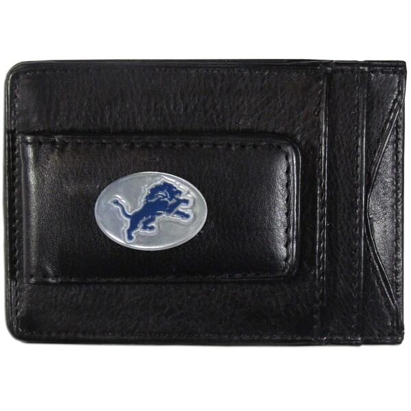 NFL Detroit Lions Black Leather Cash and Card Holder