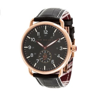 Ike Behar Rose Gold Metal Alloy Case w/ Genuine Black Leather Analog Watch