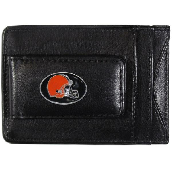 NFL Cleveland Browns Black Leather Cash and Cardholder