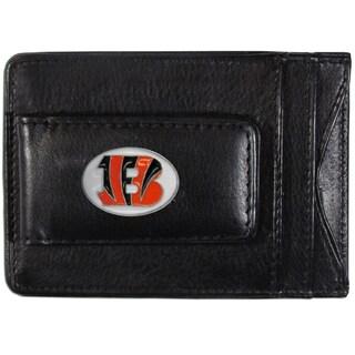NFL Cincinnati Bengals Black Leather Cash and Cardholder