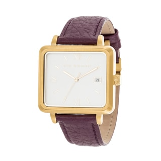 Ike Behar Gold Metal Alloy Case w/ Genuine Purple Leather Square Case Analog Watch