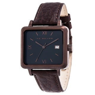 Ike Behar Brown Metal Alloy Case w/ Genuine Brown Leather Square Case Analog Watch