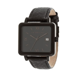 Ike Behar Black Metal Alloy Case w/ Genuine Black Leather Square Case Analog Watch