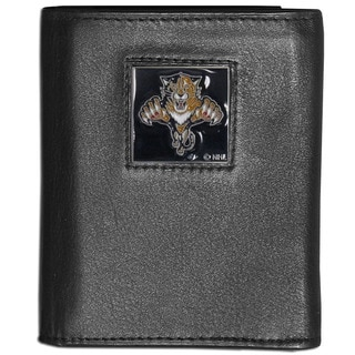 NHL Florida Panthers Black Leather Tri-fold Wallet