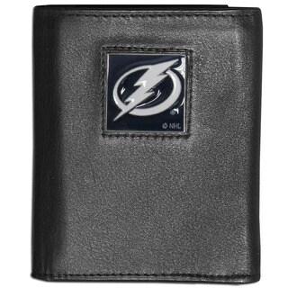 NHL Tampa Bay Lightning Black Leather Tri-fold Wallet