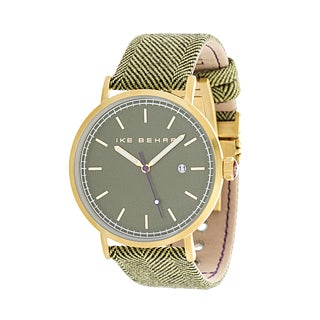 Ike Behar Gold Metal Alloy Case w/ Genuine Green Leather Analog Watch