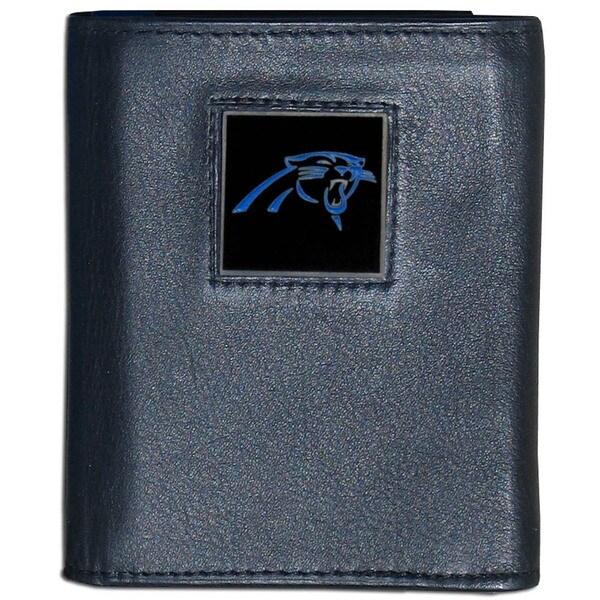 NFL Carolina Panthers Black Leather Tri-fold Wallet