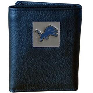 NFL Detroit Lions Black Leather Tri-fold Wallet
