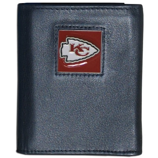 NFL Kansas City Chiefs Black Leather Tri-fold Wallet