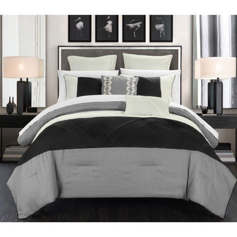 Chic Home 11-Piece Greta Bed-In-A-Bag Silver Comforter Set