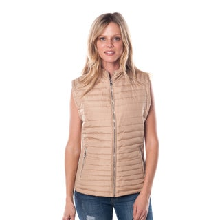 Women's Polyester Faux Fur and Suede Zip-up Vest With Back Detail
