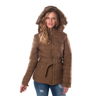 Special One Women's Black Acrylic/Polyester/Faux-fur Hooded Mid-length Jacket