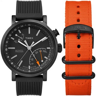 Timex Unisex TWG012600 Metropolitan+ Black Silicone Strap Watch Set With Extra Orange Nylon Strap