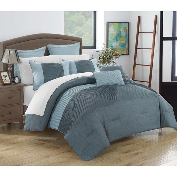 Chic Home 11-Piece Greta Bed-In-A-Bag Blue Comforter Set