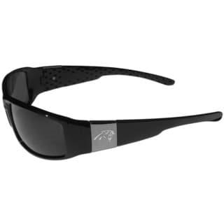 NFL Carolina Panthers Black Plastic Chrome Wrap Sunglasses