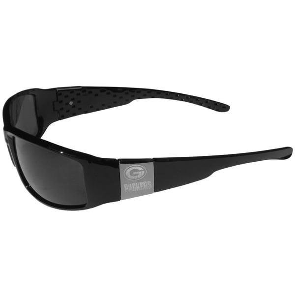 NFL Green Bay Packers Black/Chrome Plastic Wrap Sunglasses