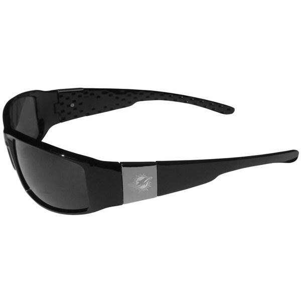 NFL Miami Dolphins Black/Chrome Wrap Sunglasses